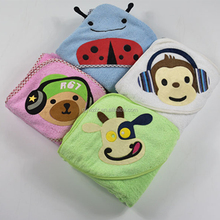 Animal Face Hooded Terry Baby Towel Large Duck Velour Poncho