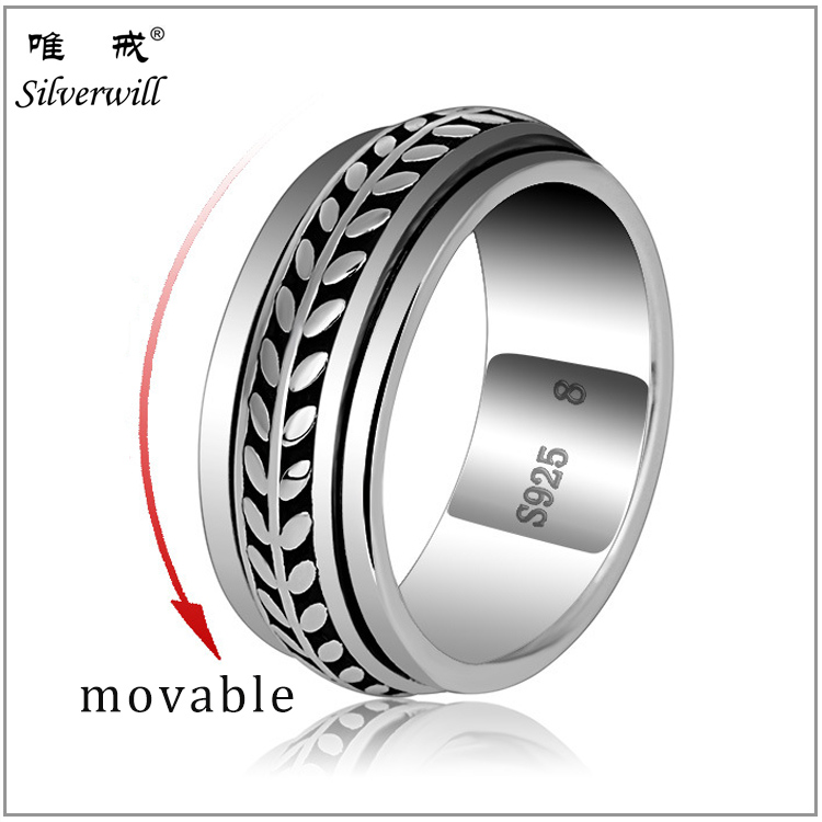 925 sterling silver new style oxidation movable arab men ring