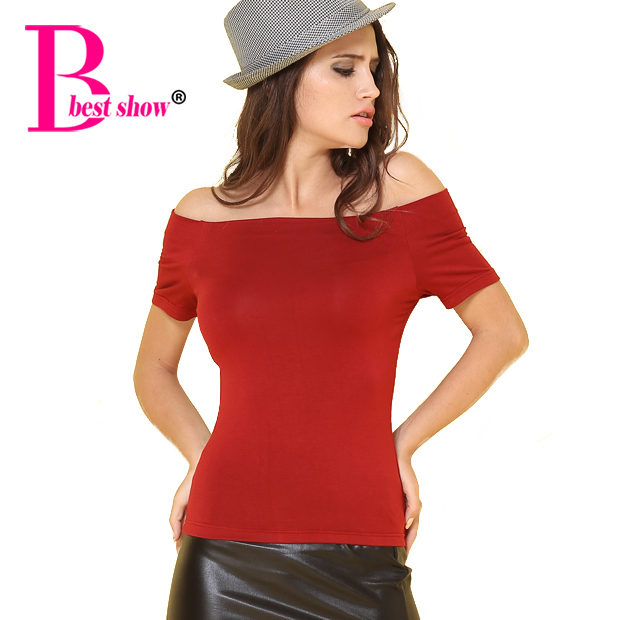 Basic Tee Shirt Women Summer 2015 Womens Tops Fashion Sexy Off The Shoulder Cotton Bodysuit T Shirts For Women Casual Clothing