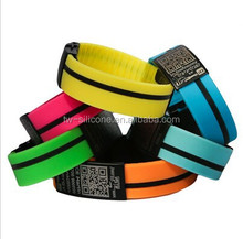 Scannable QR Code Silicon Wristbands with Teeth Steel Buckle