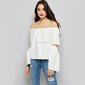 White Cut Out Bardot Neck Top Fishion Women Top