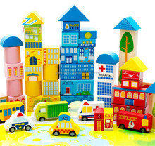 62 Variety City Traffic Block Wood Wood Puzzle Children wholesale wooden letter blocks