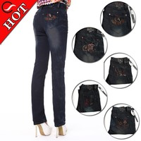Hot fashion jeans back pocket embroidery designs for womens straight leg jeans in snow wash jeans