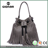India Factory Online Shopping Pu Leather Plain Tassel Ladies Bucket Bag Pu Leather