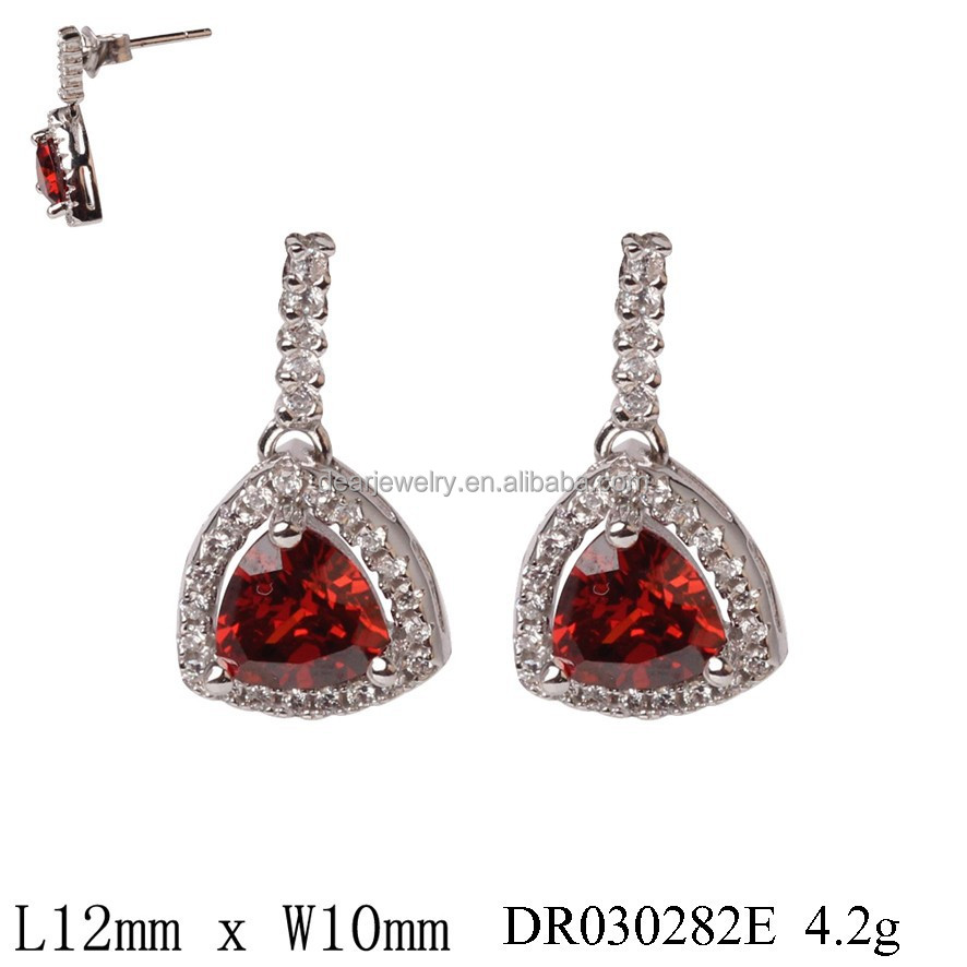 Triangle Red Created Ruby Dangle Earrings 925 Sterling Silver Jewelry Wholesale