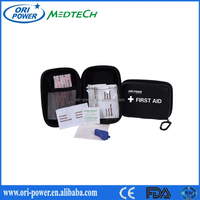 New ISO CE FDA approved nylon promotional oem wholesale portable adventure outdoors emergency first aid kit for road trip