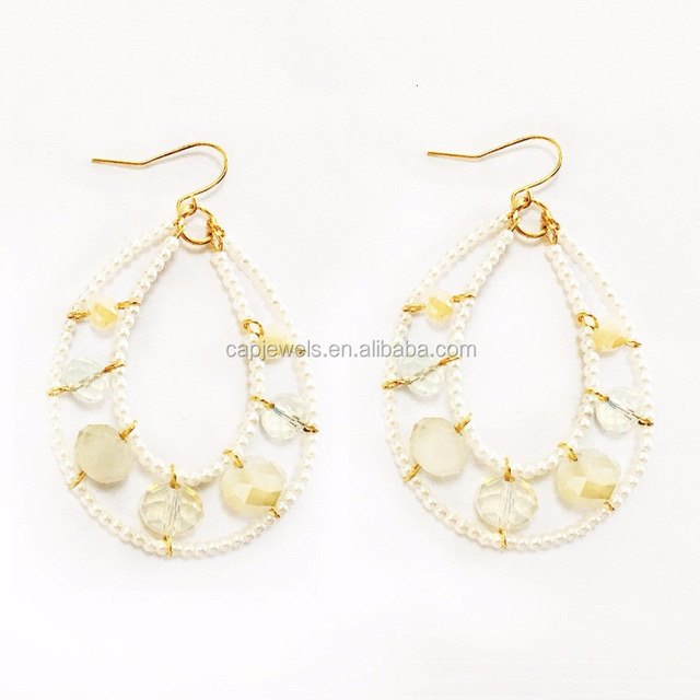 beaded pearls drop earring with acrylic stone and gold plating