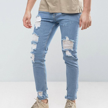 Custom ripped jeans men Skinny Jeans In Light Wash Blue Vintage With Heavy Rips and Repair