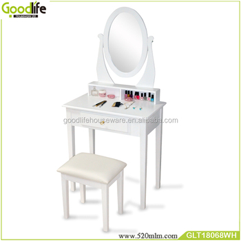 Wooden makeup table with lighted mirror and solid wood legs