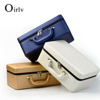 Oirlv Custom PU Jewellery Storage Boxes With Velvet Insert For Necklace Ring Earring Travel Leather Case Jewelry Organizer