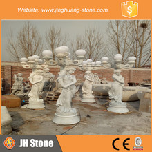 JH White Marble lady Sculpture With lamps Statue