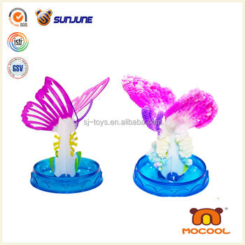 DIY children toy, butterfly educational kids toys for girls, magic crystal growing paper for desk decoration
