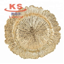 13 inch round wedding party table centering decorative gold <strong>flat</strong> pp plastic charger plate