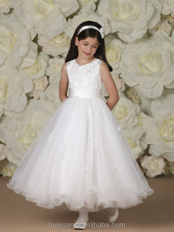white lace round neck baby gown wedding dress little girls formal dresses
