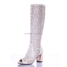 2017 Modern women peep toe pattern carved breath-hole chunky heel thigh high white fashion boots