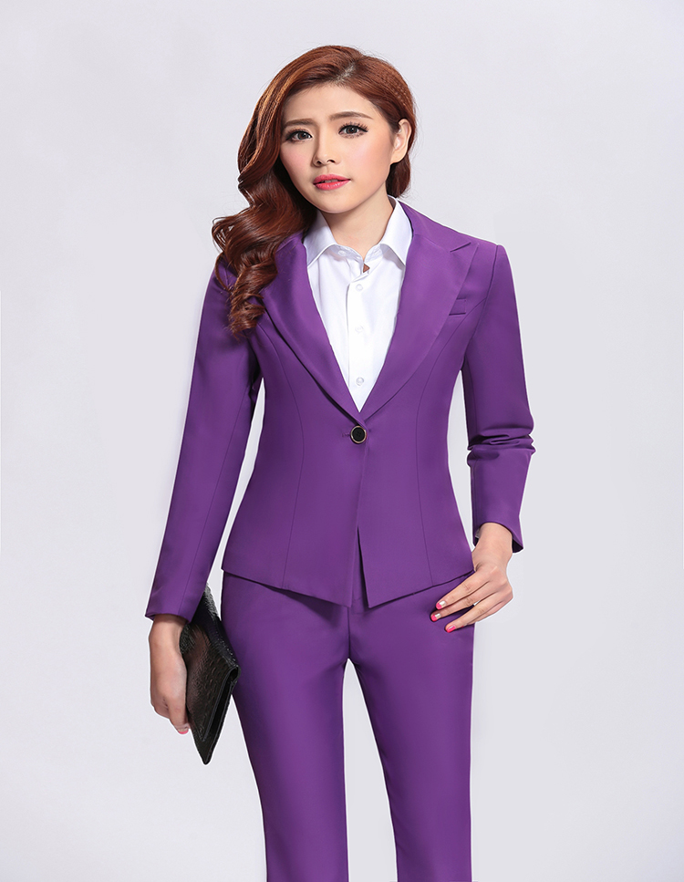Women professional suit lapel top & pants working suits for office lady
