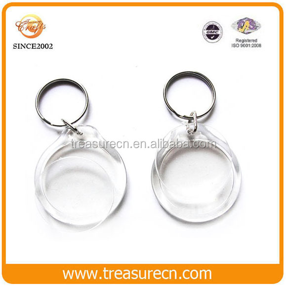 Round clear custom shape printed blank plastic acrylic photo frame keychains