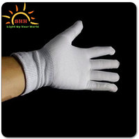 Wholesale Nylon material light up LED flashing gloves for party decorations