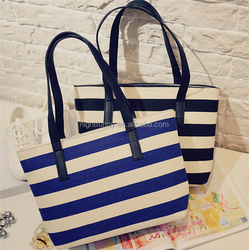 Navy Striped Canvas Tote Bag, Monogrammed Beach Bag, Monogrammed Canvas Tote Bag