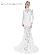 FL395 fashion sexy women elegant latest gown designs see through white long sleeve long lace evening dress