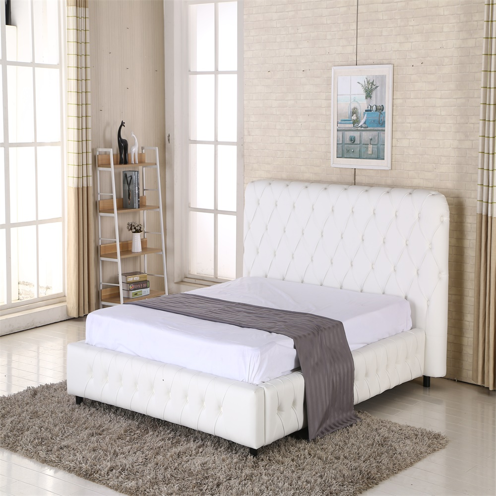 Chinese wholesale latest smart white leather Queen bed designs