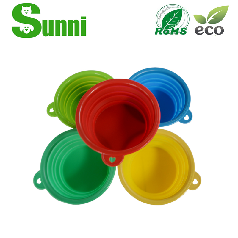 PET hot sale best design silicone collapsible and plastic pet bowl with lid