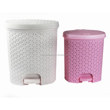 Fashion rattan pattern pedal trash bin with lid