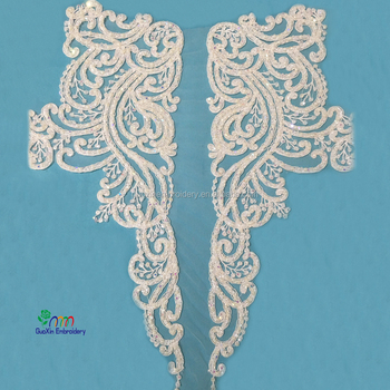 2017 beauty rhinestone crystal beaded lace trim