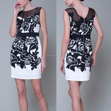 OEM custom alibaba China Cocktail embroidered Ladies formal casual dresses