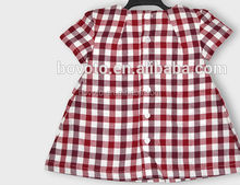 korean summer kid's Girl red and white plaid short sleeve shirt