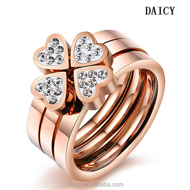 DAICY new fashion women's stainless steel diamond rose gold four leaf clover ring set