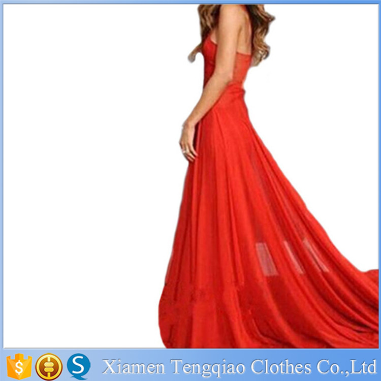 Celebrity Same Style Women Red Summer Sleeveless Chiffon Formal Party Dresse