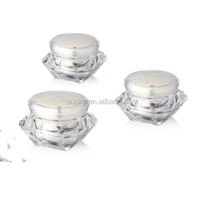 Cheap Price High quality UU Packaging diamond acrylic cream jar cosmetic packaging