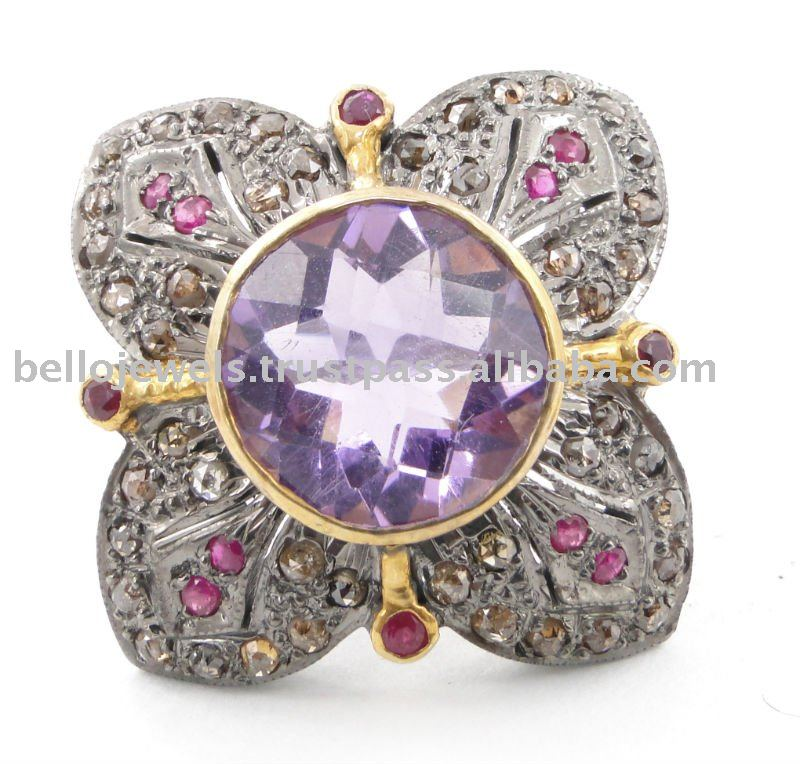 Rose Cut Diamond & Amethyst Gemstone Ring, Antique Style - PayPal