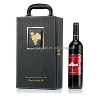 Custom Logo 2 Bottle Faux Leather Wine Packaging Case With Handle