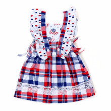 Red And Blue Five-star Flag Kids Cotton Frocks Design 4th of July Dress