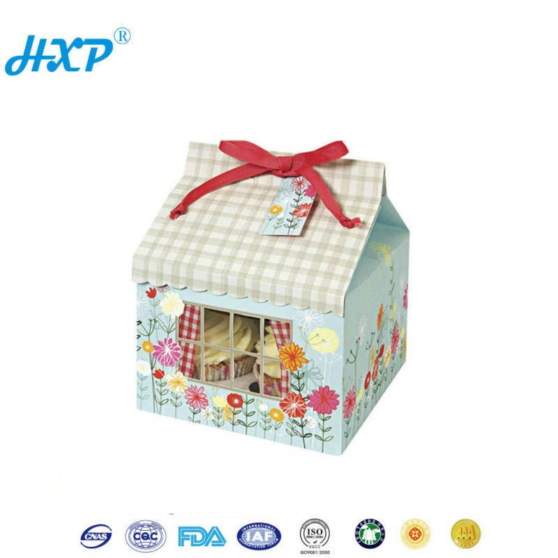 House shaped Cardboard white cake kraft paper box 3-Layer B-Flute Flexo