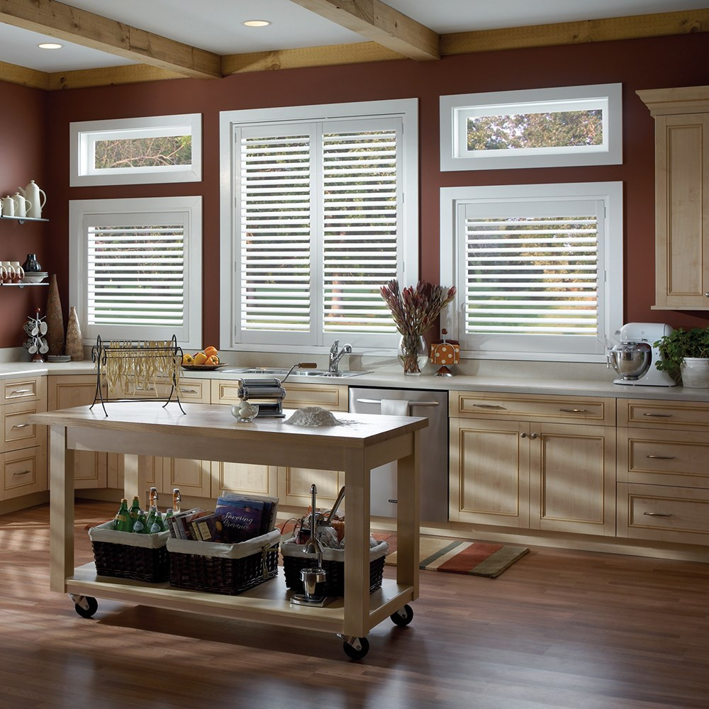 kitchen room french pvc window shutters