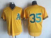 Men's Oakland Athletics Rickey Henderson Mitchell & Ness Yellow Cooperstown Mesh Batting Practice Jersey