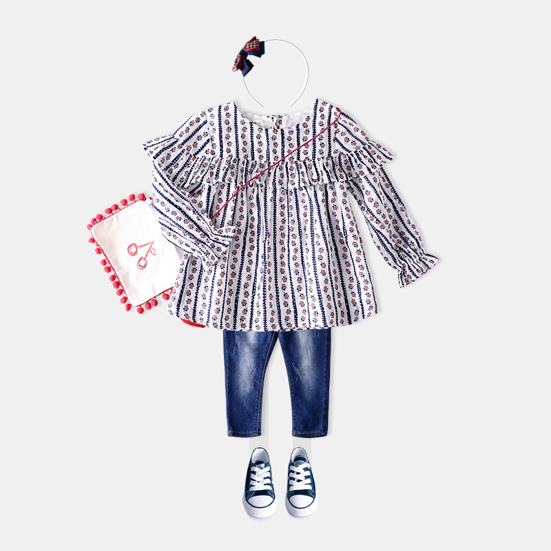 S16490A Children clothes girls new blouse pattern kids latest new model shirts