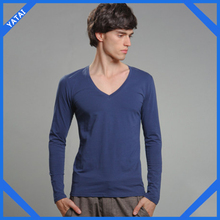 fashion custom long sleeve v-neck t-shirt for men