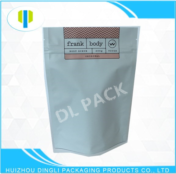 Kraft paper bags body scrub packaging withe paper with zipper