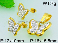 High quality bridal butterfly crystal bangladesh saudi gold plated jewelry