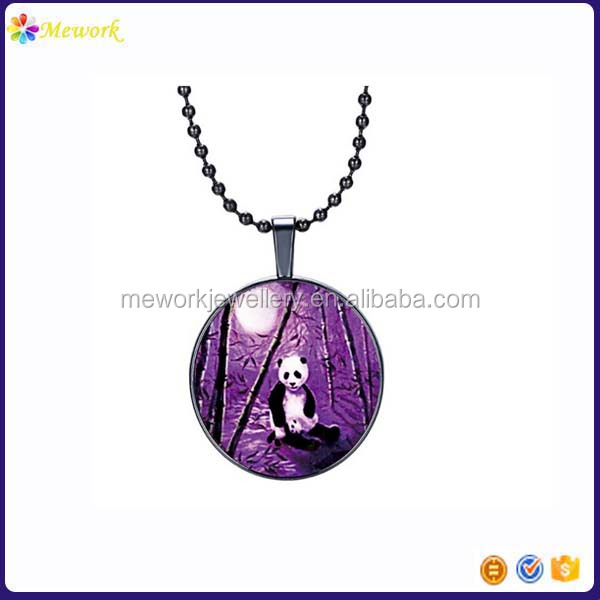 Silver round panda animal picture glow in dark shine glass pendant necklace