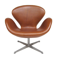 swan chair in vintage leather