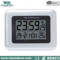 Digital jumbo calendar lcd terracotta garden wall clock with thermometer , lcd wall clock backlight clock year month day