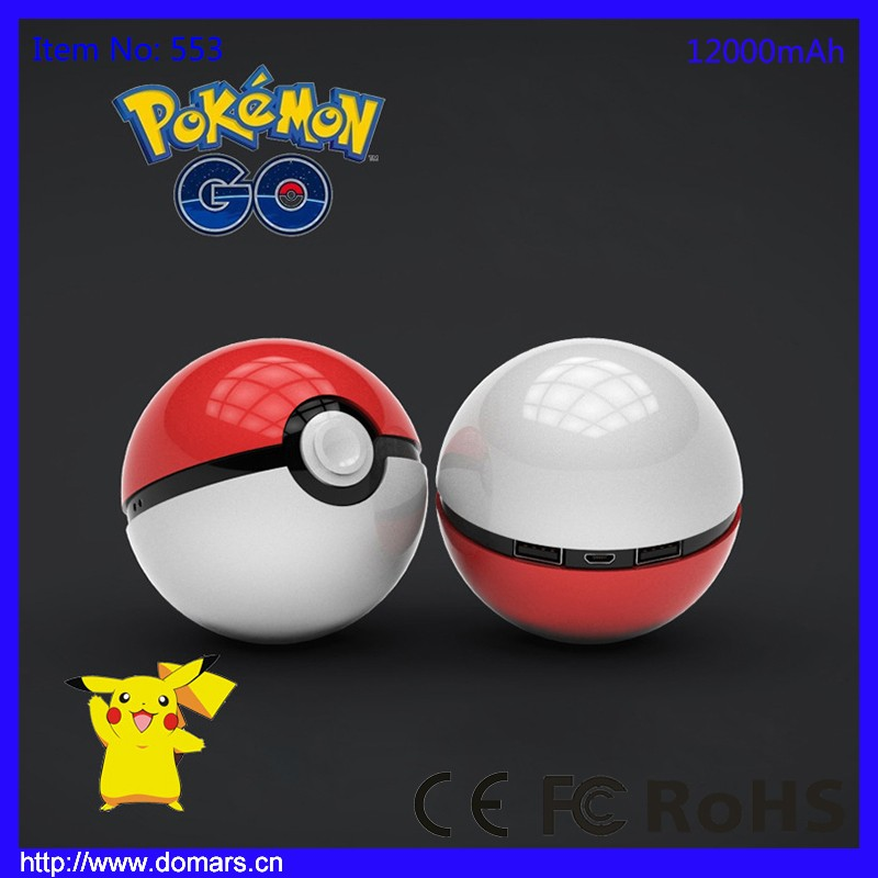 Hot Sale 2016 New Product For Promotion Pokemon Go Game Ball Power Bank 12000mAh