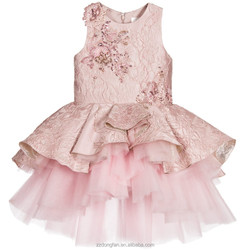 2016 new style popular Sleeveless Pink Silk Jacquard Party child Dress Children Frocks Designs Dress with Jewels and Sequins
