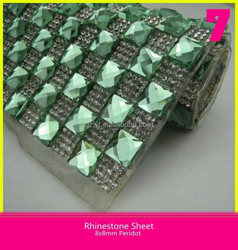 20x40cm Hot Fix Strass Sheet Pointback Small Crystal Rhinestone Mix 8x8mm Peridot Square Shape Diamond
