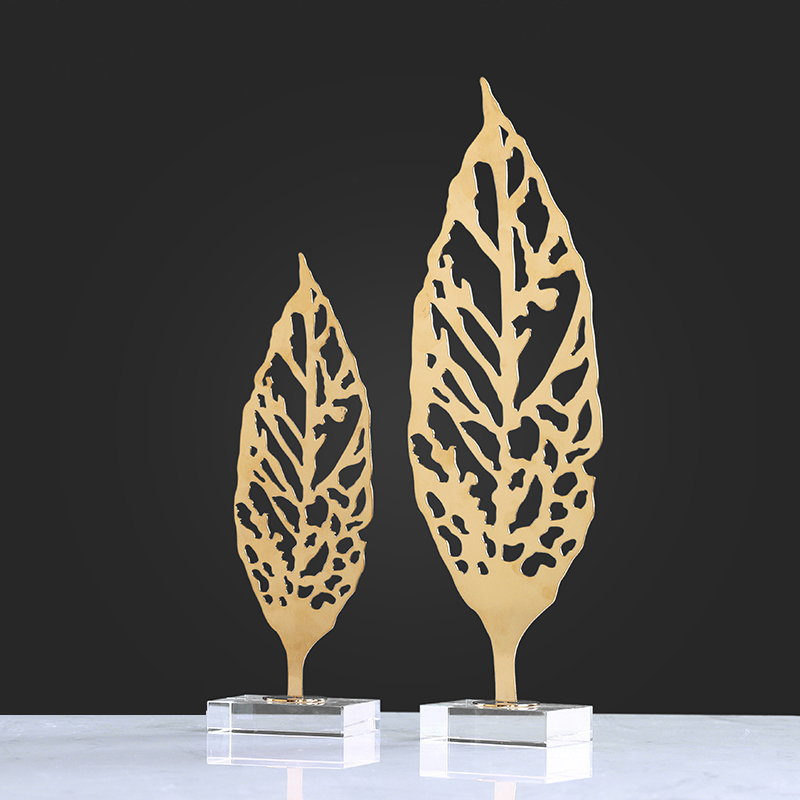 New creative home furnishing articles metal leaf design crafts for gifts